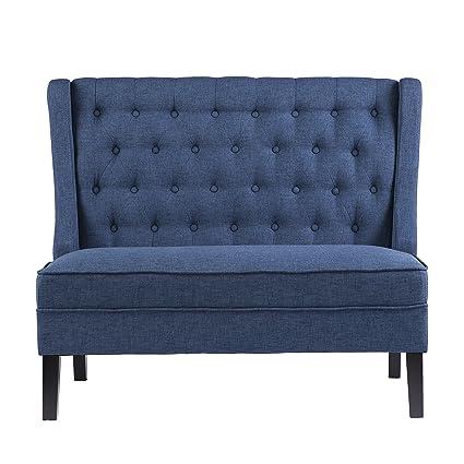 """Furniture HotSpot – High Back Tufted Settee - 48.5"""" W x 30"""" D x 39.5"""" H  (Navy)"""
