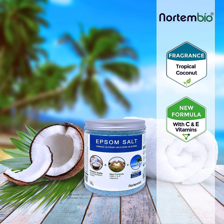 Nortembio Sal de Epsom 750 g. Novedosa Fragancia de Coco Tropical. Hidratada con Vitamina C y E. Sales de Baño y Cuidado Personal.: Amazon.es: Hogar