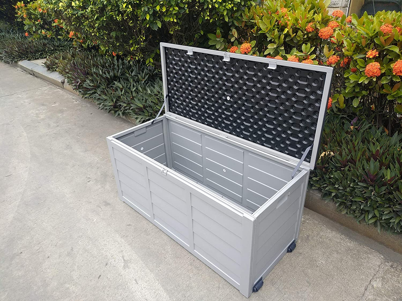 Groundlevel Co Uk Weatherproof Easy Move Xl Garden Storage Box Charcoal Grey Lid Amazon Co Uk Garden Outdoors