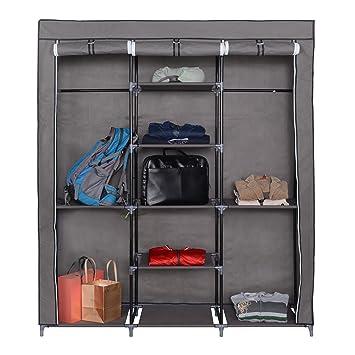 Mari Home - Ashby Gris Marco de metal Armario de tela para Closet Textil Plegable organizador 175 x 150 x 45 cm: Amazon.es: Hogar