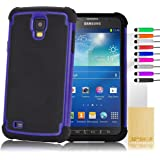 32nd Shock proof defender dual case cover for Samsung Galaxy S4 Active i9295, including screen protector, cleaning cloth and touch stylus - Deep Blue