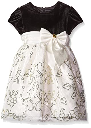 9a2dcde17 Jayne Copeland Little Girls' Toddler Velvet with Lace and Sequins,  Black/Gold,