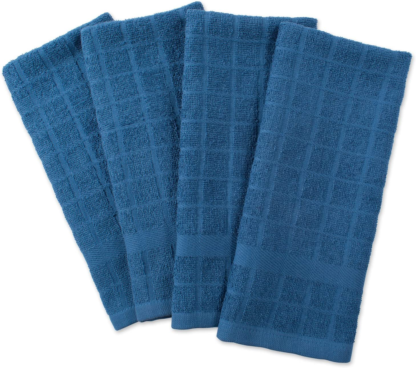 "DII Cotton Terry Windowpane Dish Towels, 16 x 26"" Set of 4, Machine Washable and Ultra Absorbent Kitchen Bar Towels-Solid Blue"