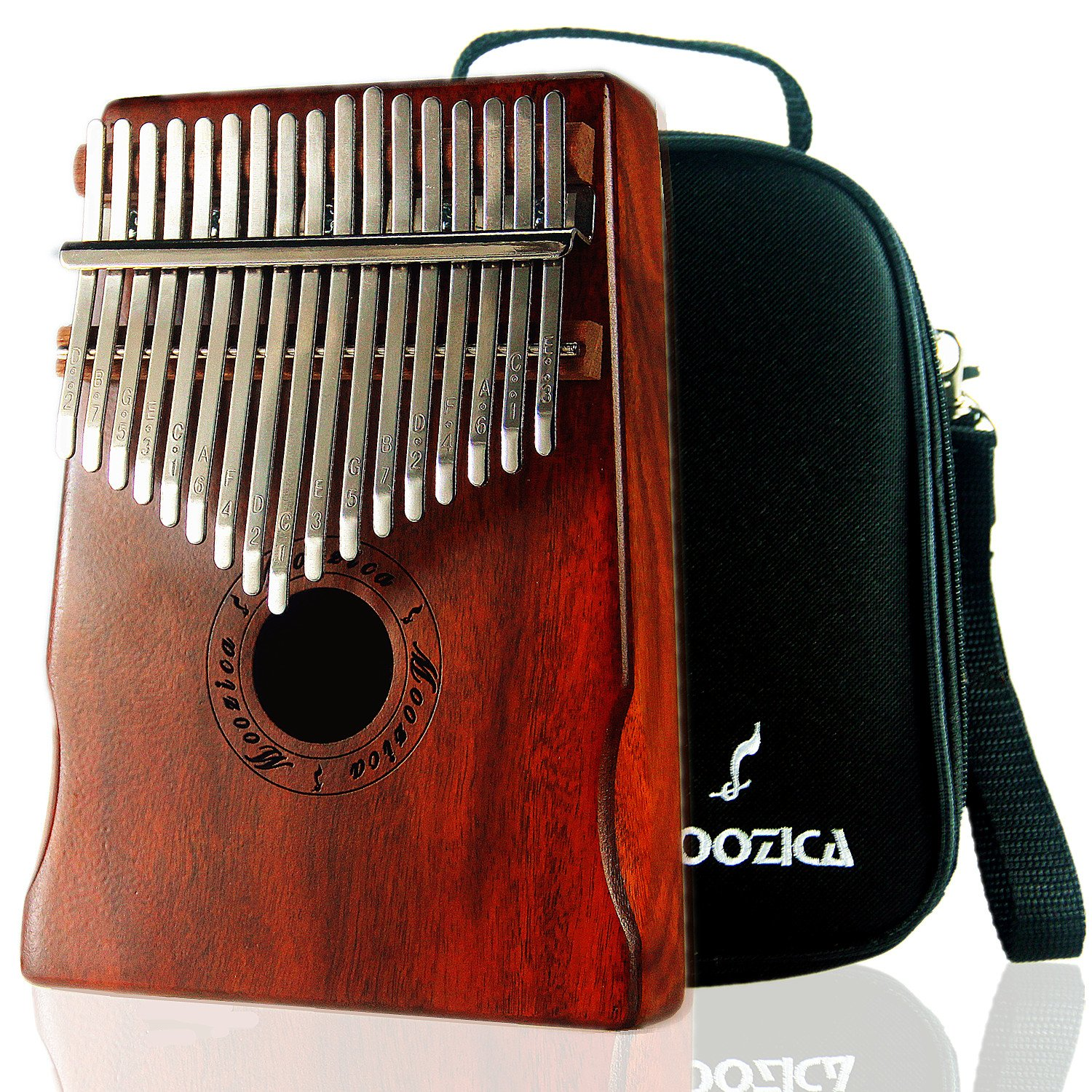 Moozica Mahogany Tone Wood 17 Keys Kalimba Marimba, High Quality Professional Finger Thumb Piano With Professional Kalimba Bag(Dark Green) K17MBL