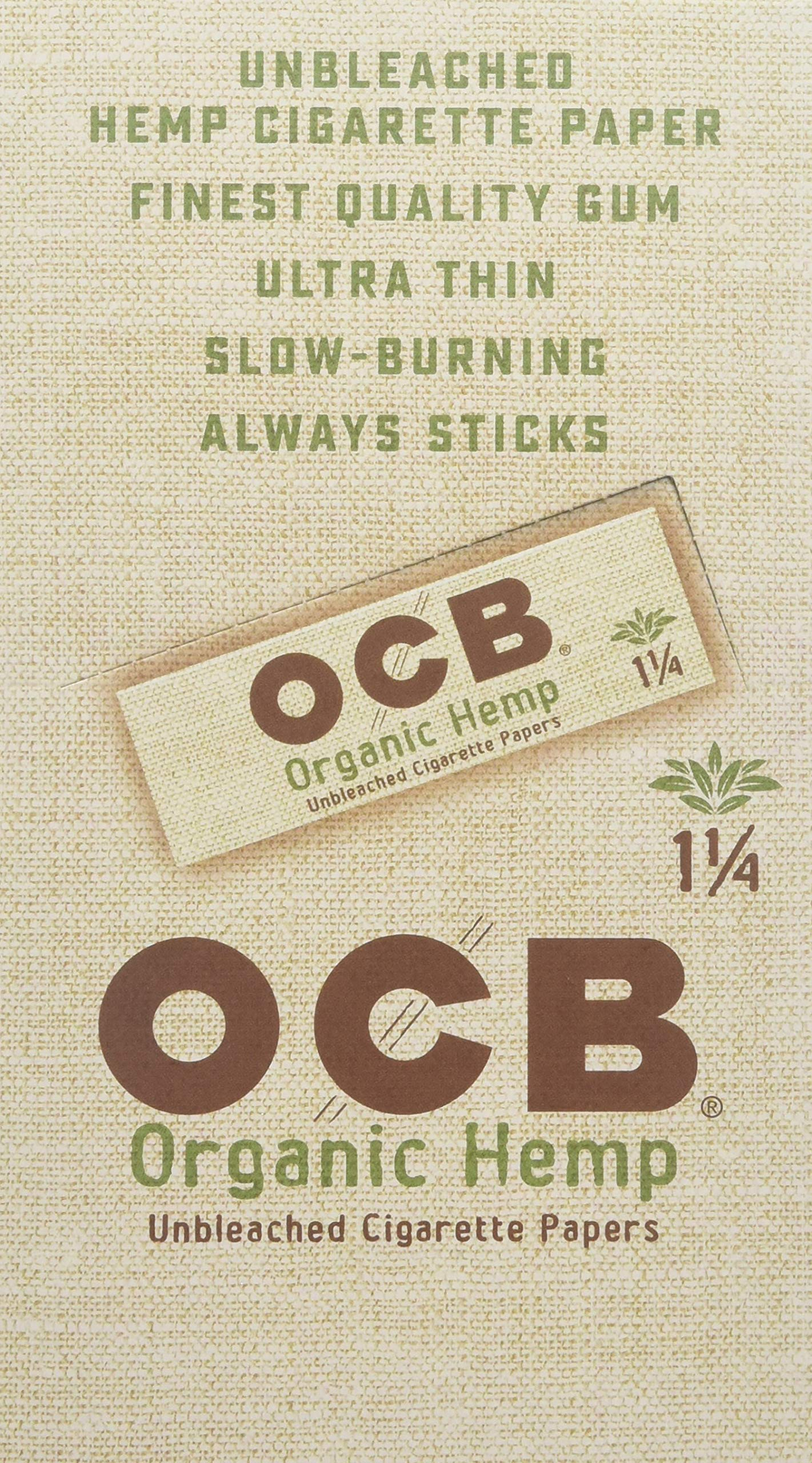 OCB Organic Hemp Unbleached Rolling Papers 1 1/4 UNFLAVORED Flavor Pack of 24