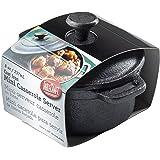 Tablecraft Cast Iron Round Mini Casserole with Lid Cookware, 8-Ounce, Black, 8 oz