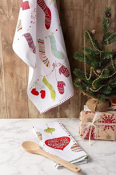 DII Toalla decorativa navideña de algodón, diseño navideño de Navidad, 18 x 28 cm: Amazon.es: Hogar