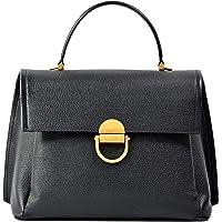 KZNI Genuine Leather Satchel Handbags, Purses and Handbags for Women,fashion Tote,Shoulder Crossbody Bags with Long Strap,Detachable Tote Bags, Tote Top-handle Satchel Bags, Ladies Large Black