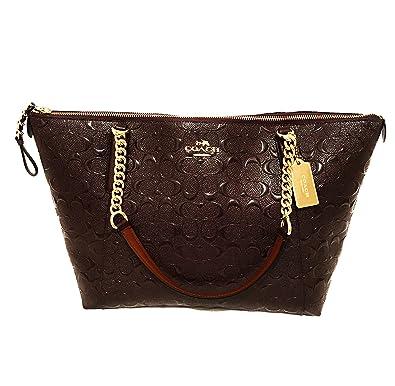 eef58f65e665 COACH F2260 AVA DEBOSSED LEATHER CHAIN TOTE OXBLOOD 1  Handbags  Amazon.com