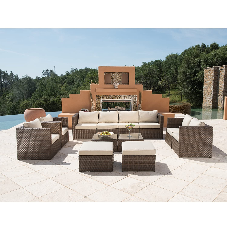 Amazon 12pc Outdoor Rattan Wicker Sofa Sectional Patio