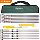 """Romanticist 15Pc Extra Wide Metal BBQ Grill Barbecue Skewers - 16.5"""" Flat Stainless Steel Shish Kabob Skewer Stick with Basting Pastry Brush - BBQ Grill Tools Accessories Set in Handy Storage Pouch"""
