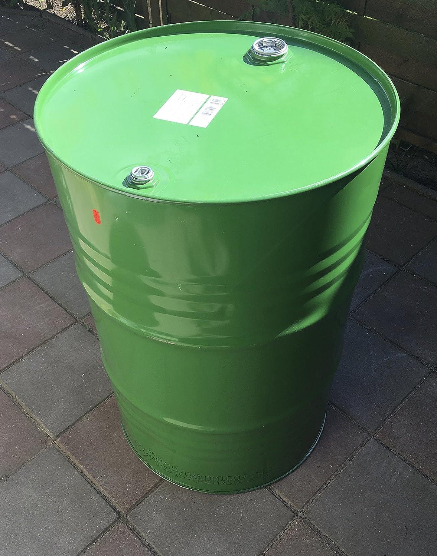 200 Liter Metallfass Spund gr/ün innen lackiert Stahlfass /Ölfass Feuertonne Beh/älter Tonne Blechfass Stehtisch