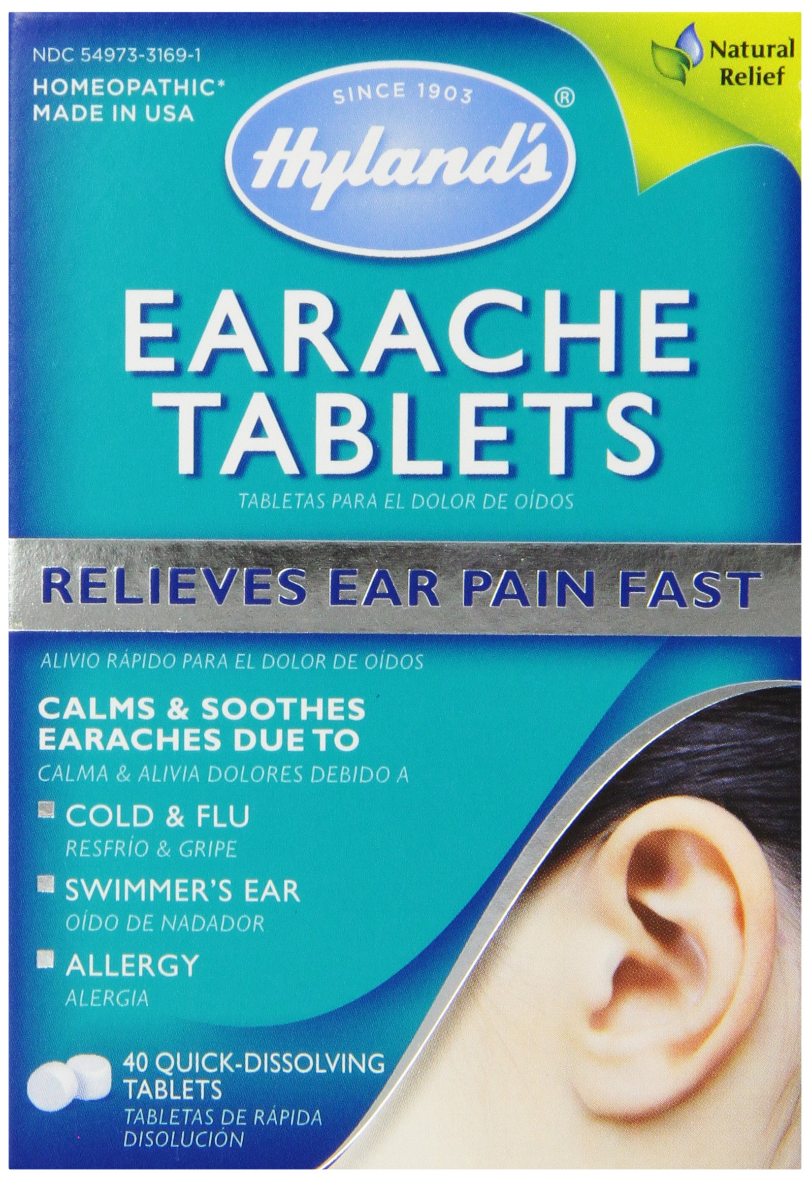 Hyland's Earache Tablets, Natural Relief of Cold & Flu Earaches, Swimmers Ear, and Allergies, 40 Count
