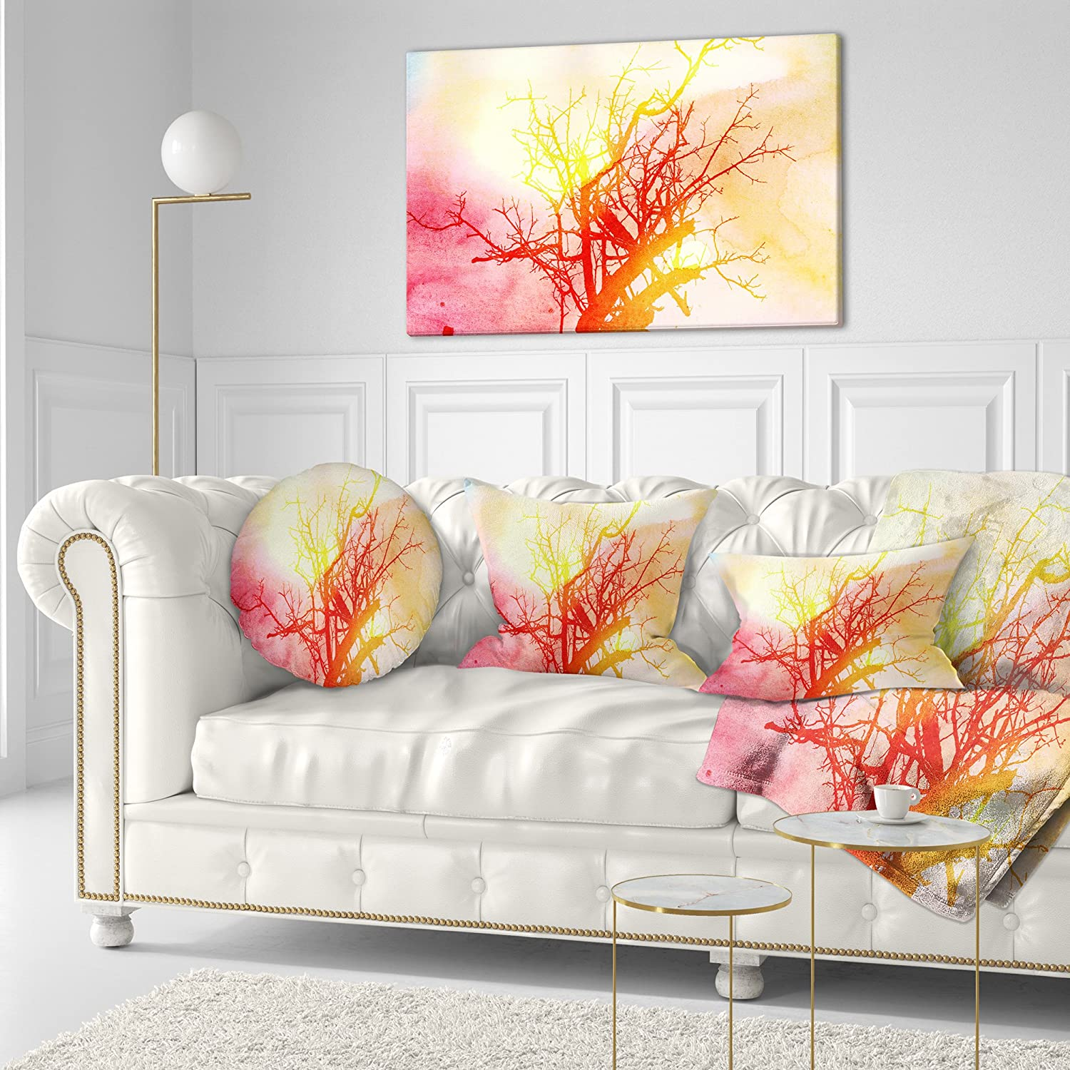 Sofa Throw Pillow 20 Designart CU8594-20-20-C Colorful Smoke Trees Painting Round Cushion Cover for Living Room Insert Printed On Both Side