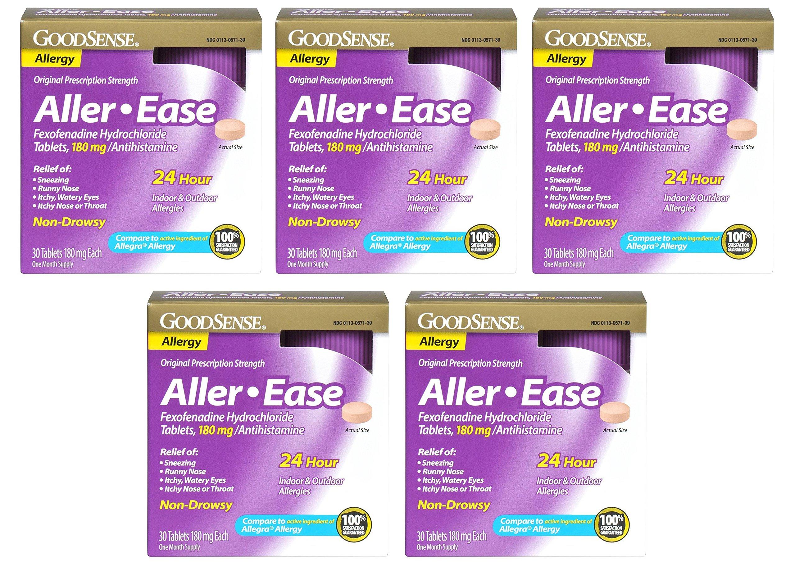 GoodSense Aller-Ease BZvDB Fexofenadine Hydrochloride Tablets, 180 mg/Antihistamine, 30 Count (5 Pack)