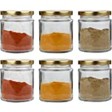 Pure Source India Glass jar Container Set of 6, Coming with Metal Golden Color Air Tight and Rust Proof Cap, Capacity 50 Gram .(Kitchen Glass Jar)