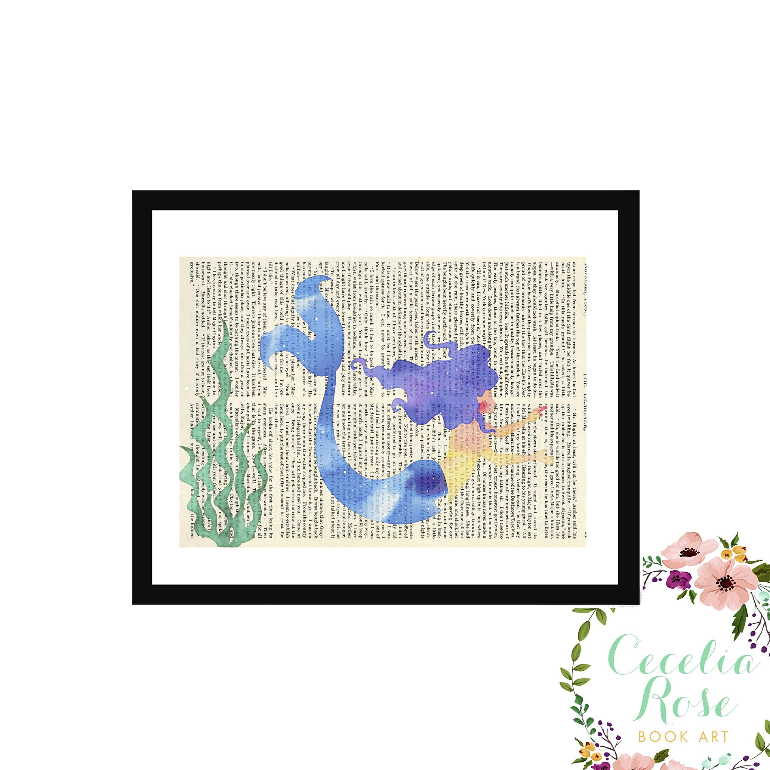 Mermaid Watercolor Seaweed Nautical Nursery Typography Farmhouse Childrens Vintage Book Page Unframed 5x7