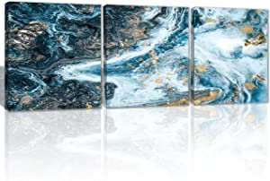 Oiney Nature Blue Abstract Canvas Wall Art 3 Panels Aquamarine Marble Modern Wall Art Decor for Home,Office,Hotel
