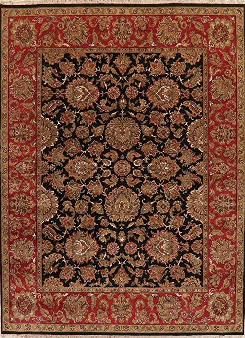 Amazon Com Traditional Floral Black And Burgundy Agra Oriental Area Rug Hand Knotted Wool 11 10 X 8 11 Kitchen Dining