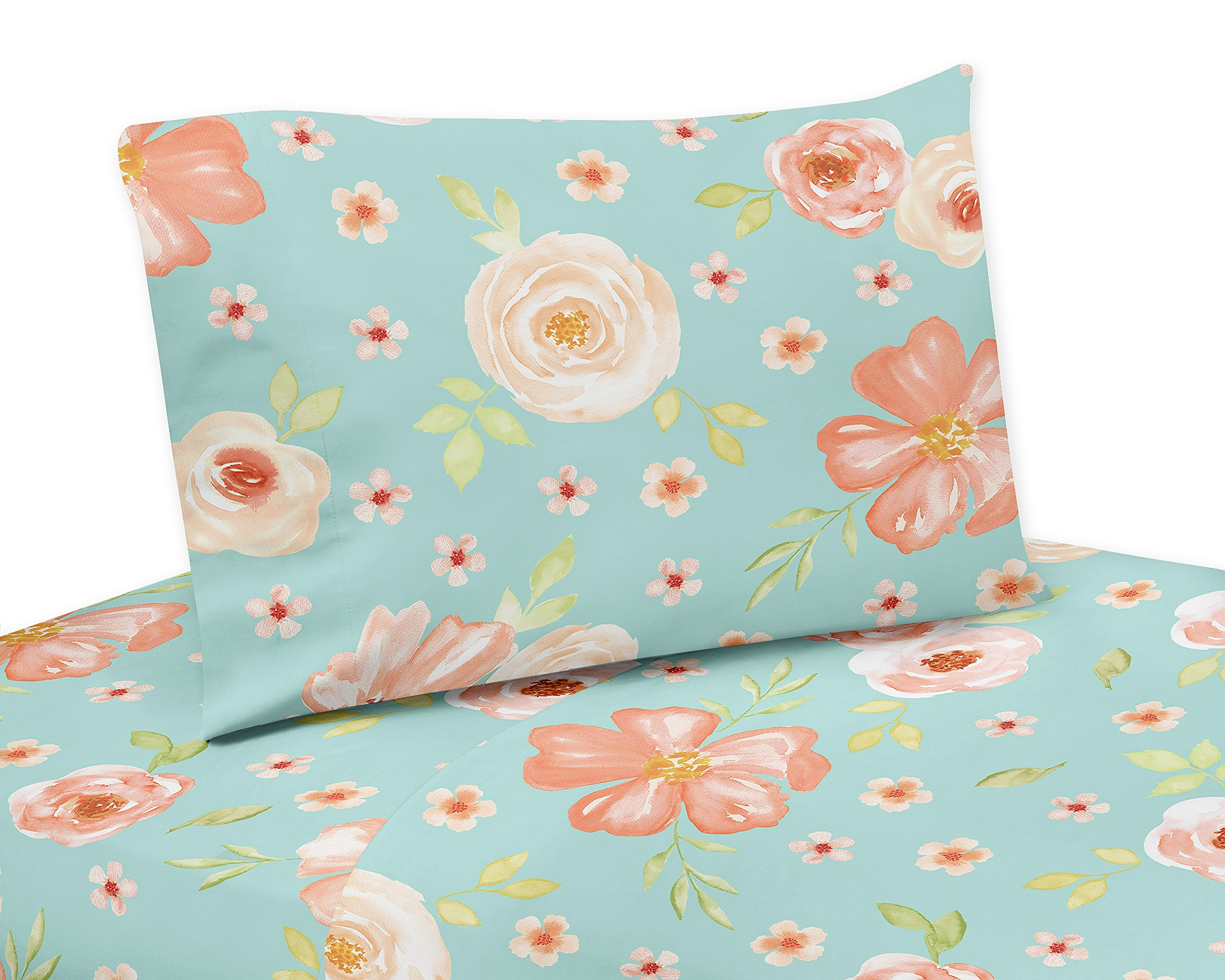 Sweet Jojo Designs Turquoise and Peach Twin Sheet Watercolor Floral Collection-3 Piece Set-Pink Rose Flower