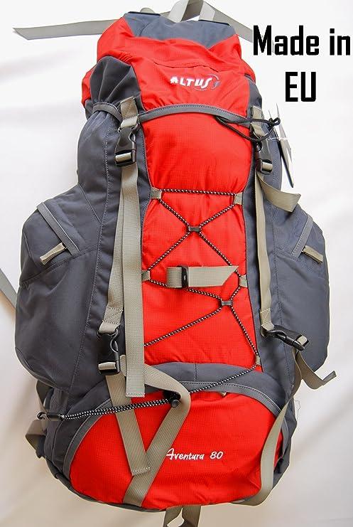 Altus Aventura - Mochila de senderismo, 80 L, fabricada en España, color rojo: Amazon.es: Deportes y aire libre