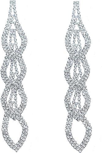Cuadrado de plata Pendientes Diamante Cristal Diamante Estrás