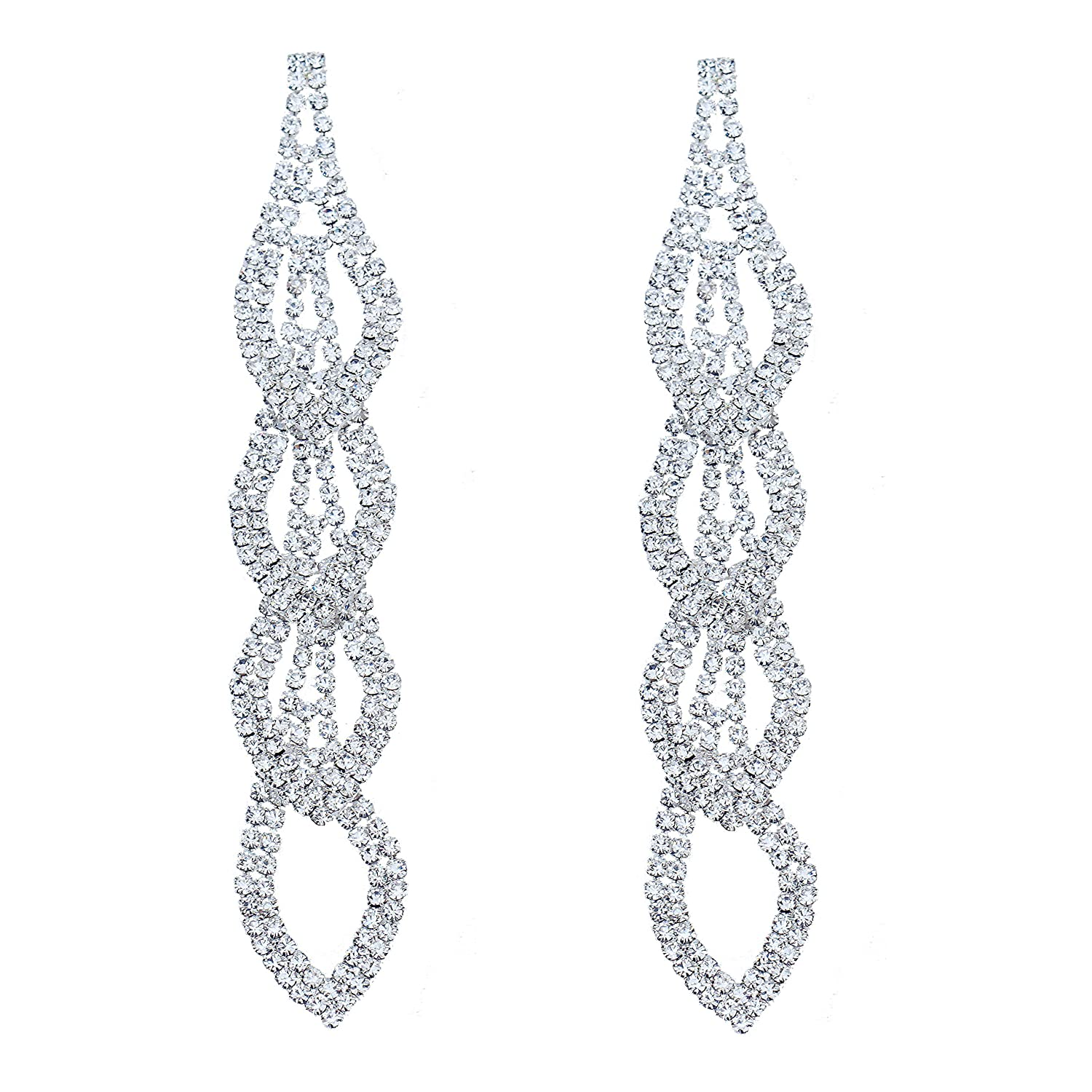 Amazon.com  CHRAN Sparkling Rhinestone Long Drops Link Dangle Earrings Women  Bridal Jewelry size 4.37