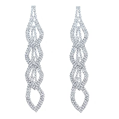 CHRAN Sparkling Rhinestone Long Drops Link Dangle Earrings Women Bridal  Jewelry size 4.37 quot  cd4433ba61c6