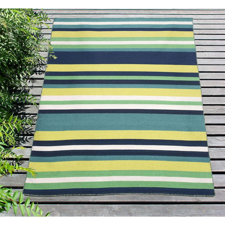 Liora Manne SRN23630533 Sorrento Pinstripe Indoor//Outdoor Lightweight Rug Navy Blue and Ivory 2 X 3