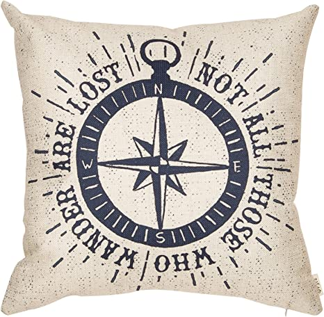 Fjfz Not All Those Who Wander Are Lost Inspirational Travel Quote Decoration With Nautical Compass Rose Vintage Décor Cotton Linen Home Decorative Throw Pillow Case Cushion Cover Sofa Couch 18 X
