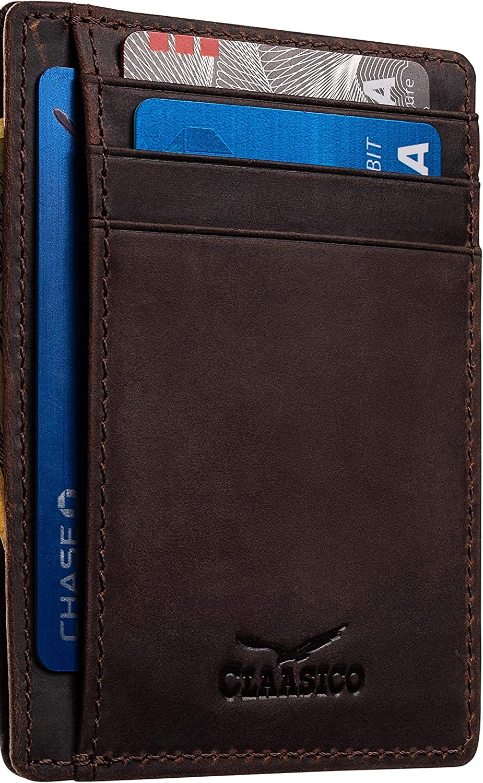 Front Pocket Small Minimalist Leather Wallet RFID Blocking Genuine Leather Credit Card Holder