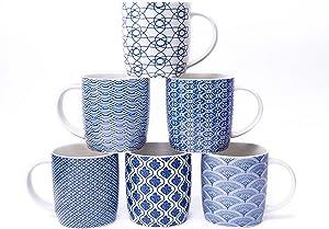 MACHUMA Set of 6 11.5 oz Coffee Mugs with Blue and White Geometric Patterns, Ceramic Tea Cup Set