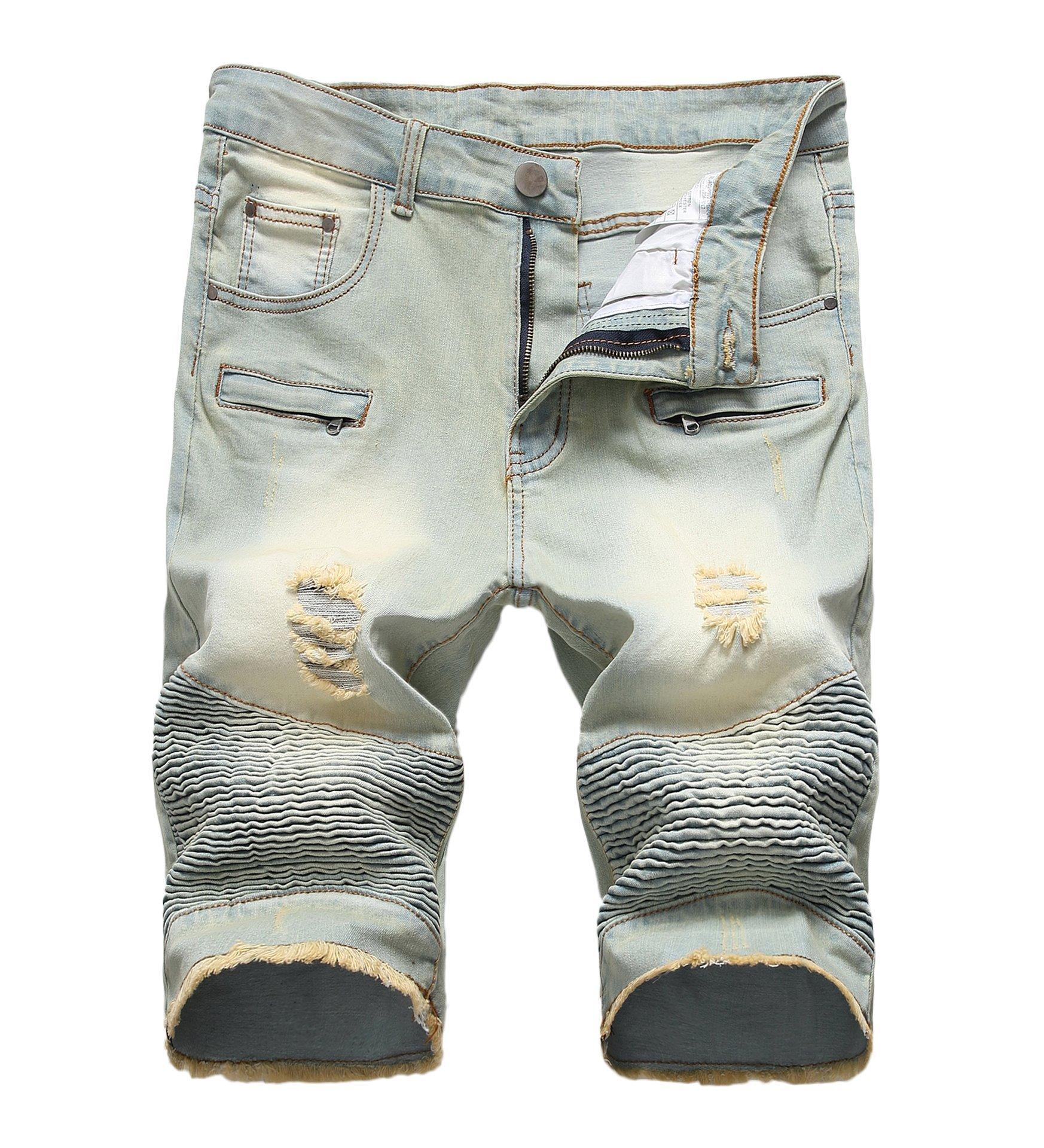 CLANNAD Men's Moto Biker Shorts Jeans Zipper Denim Casual Slim Shorts with Hole Vintage Blue 30 by CLANNAD (Image #1)