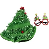 Christmas Party Costume Accessories - 2-Piece Set Christmas Tree Hat and Festive Eyeglasses, Holiday Outfit, Gag Gifts…