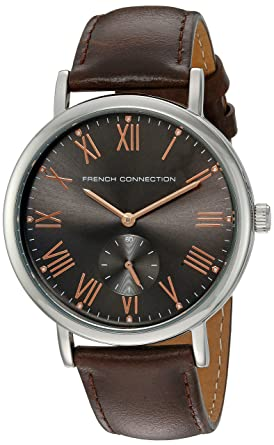 French Connection Mens Harley Classic Quartz Metal and Leather Watch, Color:Brown