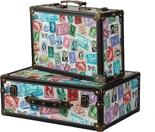 Vintiquewise TM World Stamp Travel Suitcase Chest, Set of 2