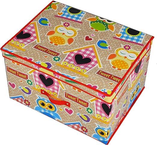 Nuevo diseño de búho niños baúl de almacenamiento Caja de juguetes Multi Juego con ropa de cama Multi búhos: Amazon.es: Hogar