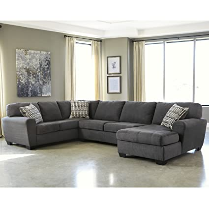 Flash Furniture Benchcraft Sorenton 3 Piece LAF Sofa Sectional In Slate  Fabric