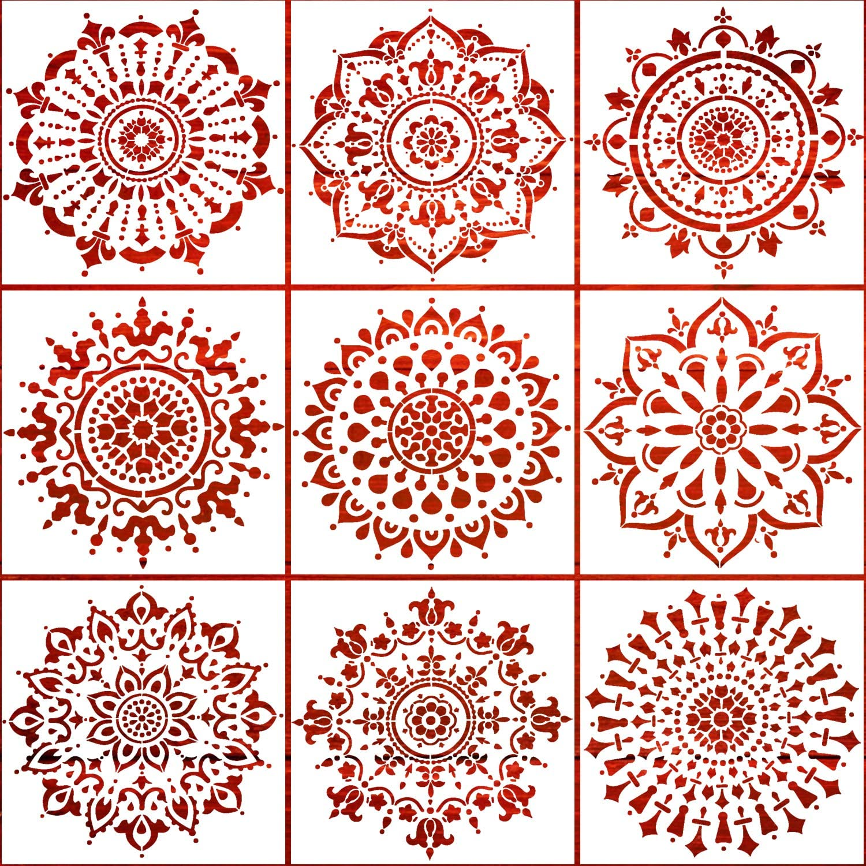 Reusable Mandala Stencils Set of 9 (12 x 12 inch) Painting Stencil, Laser Cut Painting Template Wood Floors Wall Fabric Furniture Stencils DIY Decor