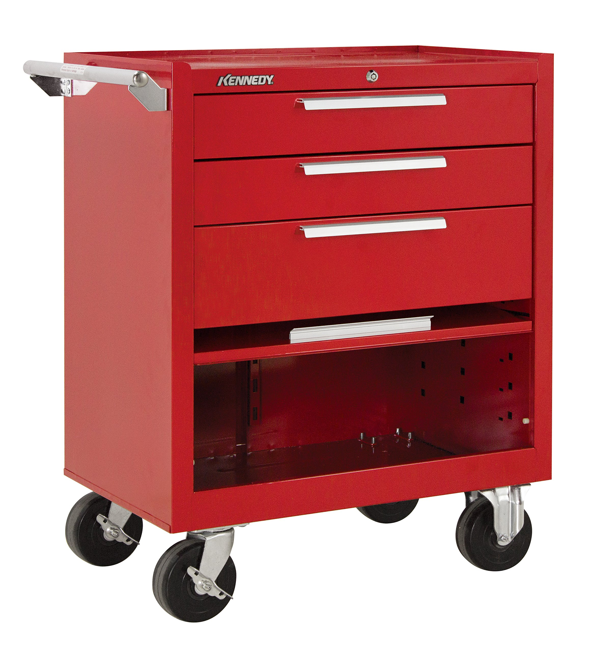 Kennedy Manufacturing 273R 27'' 3-Drawer Industrial Tool Storage Roller Cabinet With Chest And Wheels, Industrial Red