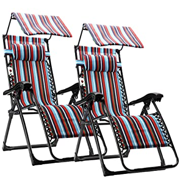 FLAMROSE Zero Gravity Chair with Canopy Patio Lounge Chairs Outdoor Yard Recliners (Case of 2  sc 1 st  Amazon.com & Amazon.com : FLAMROSE Zero Gravity Chair with Canopy Patio Lounge ...