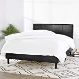 Amazon Basics Faux Leather Upholstered Platform Bed Frame with Wooden Slats, Queen