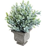 MyGift 11 inch Artificial Orange Jasmine Potted Plant with Gray Vase