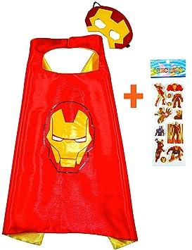Iron Man Capa y máscara para niños superhéroe - Superhéroes niños niñas niños Fancy disfraz de
