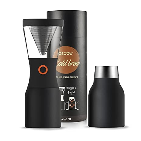 asobu coldbrew portable cold brew coffee maker with a vacuum insulated 40oz stainless steel 18