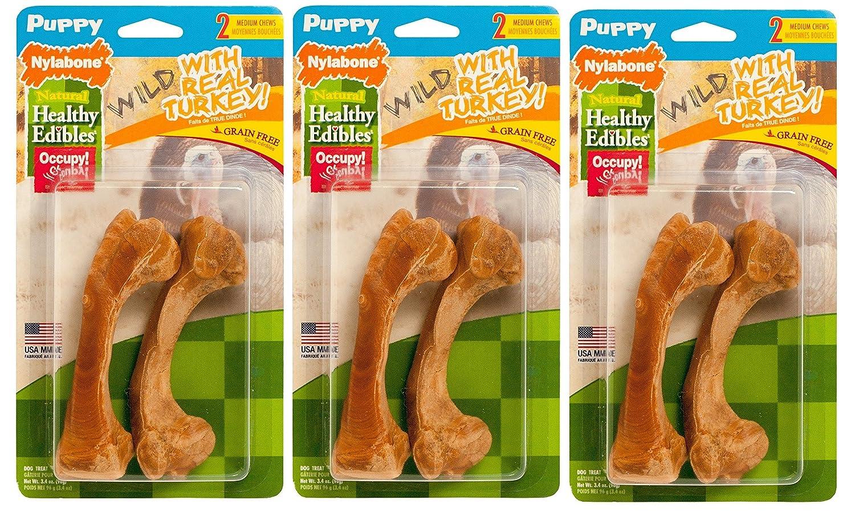 (3 Pack) Nylabone Healthy Edibles Dog Chew Treat Bones for Puppies, Wild Turkey Flavor, 2 Bones each