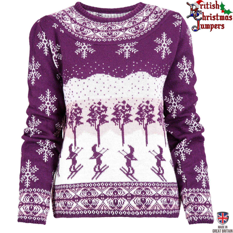 Apres Ski - Lila und Weiss - Damen Pullover Weihnachten Christmas - Hergestellt in Großbritannien
