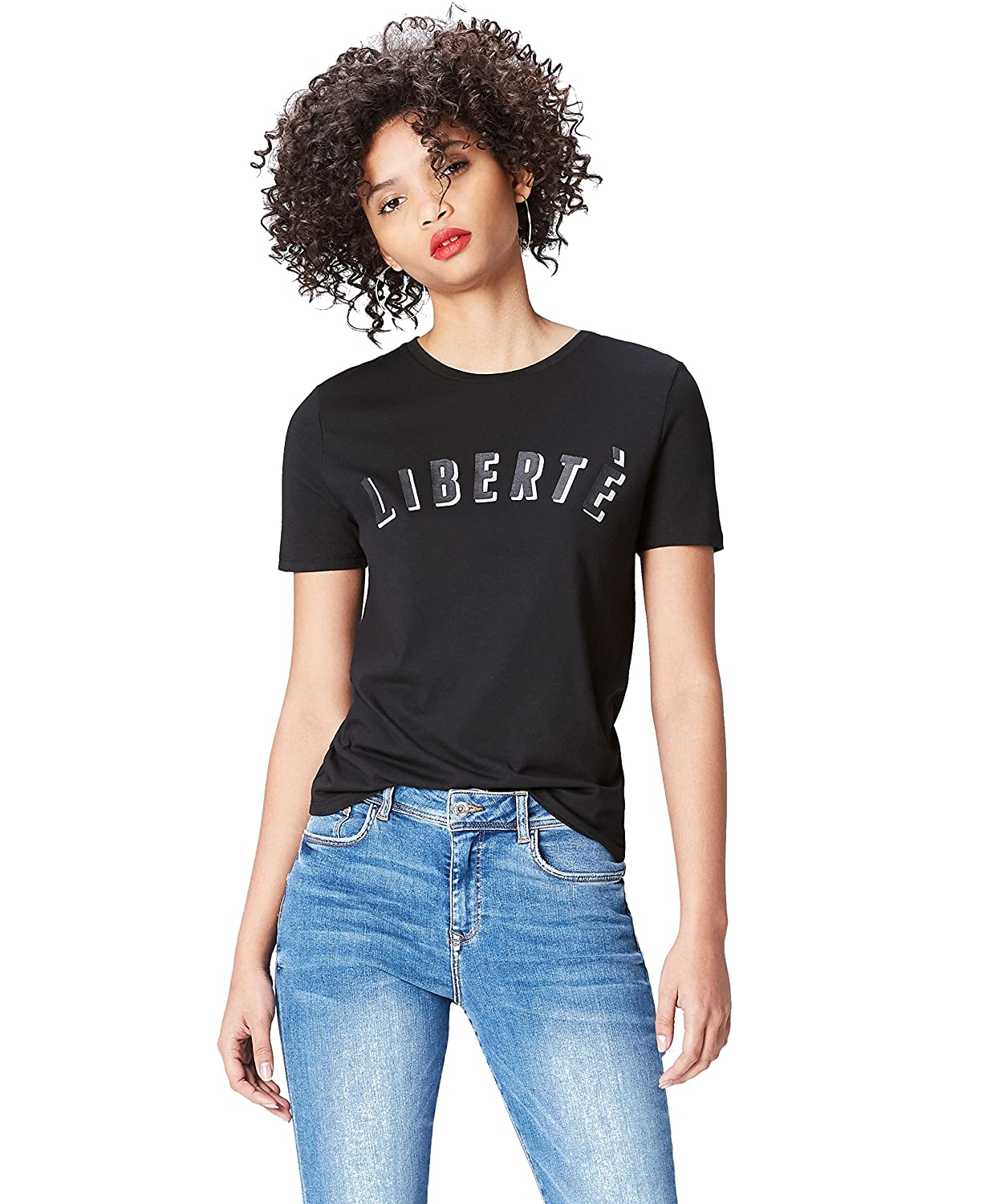 Marchio find T-Shirt Girocollo con Slogan Donna