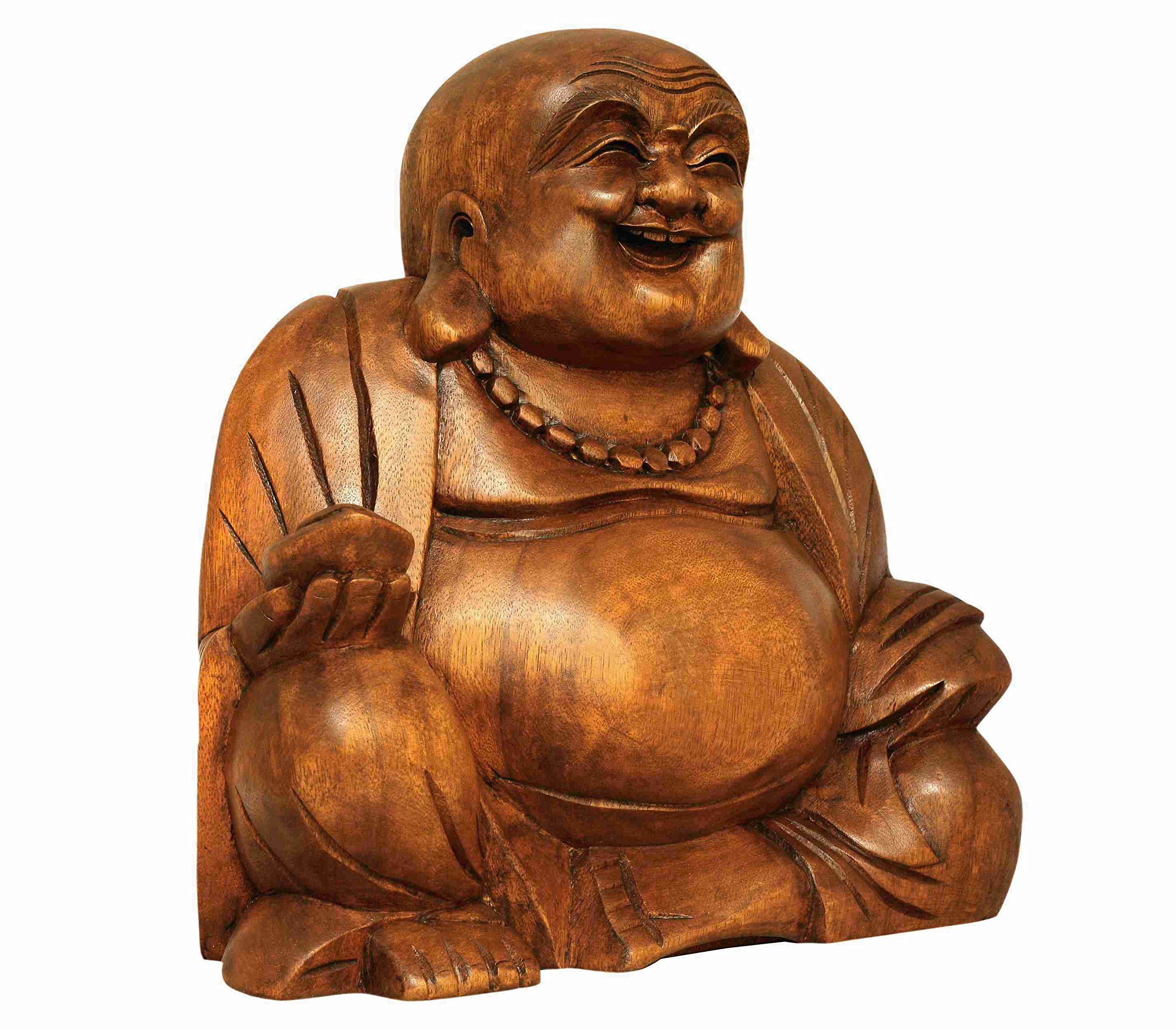 G6 COLLECTION 8'' Wooden Laughing Happy Buddha Handmade Art Statue Handcrafted Sculpture Home Decor (Small) by G6 Collection (Image #2)