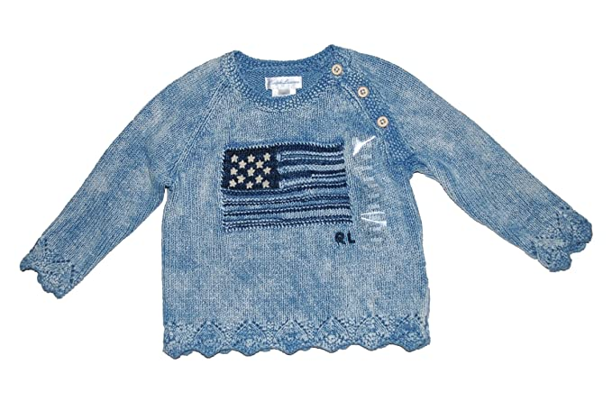 97098ccd4ee8d Image Unavailable. Image not available for. Color  Ralph Lauren Polo Baby  Girls American Flag Intarsia Sweater ...